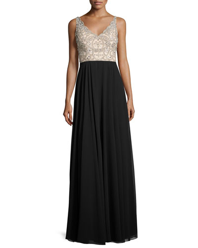 Sleeveless Beaded Two-Tone Gown, Champagne