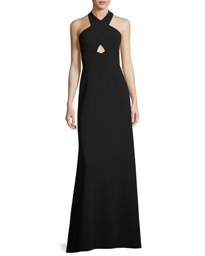 Sleeveless Scuba A-Line Gown, Black