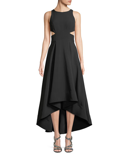Cutout Stretch Crepe High-Low Gown