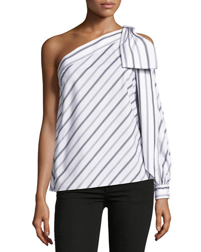 Nina One-Shoulder Striped Shirting Top, White