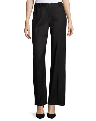 Italian Wool Gabardine Trousers, Black