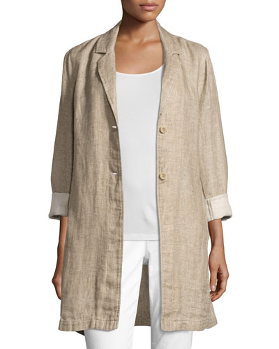 Notched-Collar Organic Linen Long Jacket, Natural, Petite