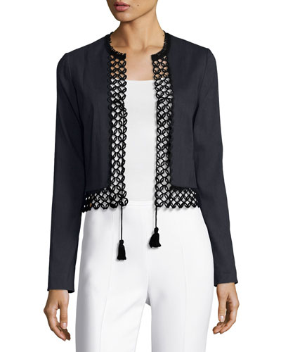Britta Lace-Trim Stretch-Linen Cropped Jacket