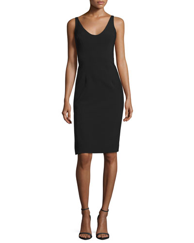 Cora Sleeveless Italian Cady Sheath Dress, Black
