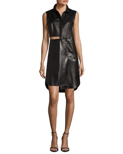 Lightweight Leather Cutout Shirtdress
