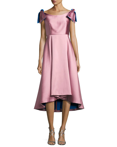 Casey Sleeveless Satin Bateau Cocktail Dress, Pink