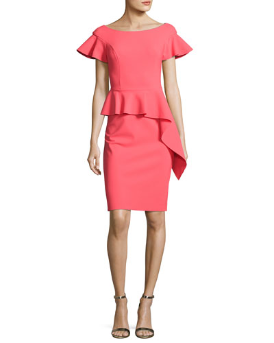Short-Sleeve Asymmetric Peplum Cocktail Dress, Pink