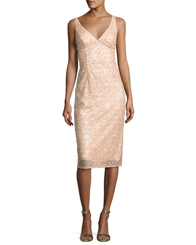 Liz Sleeveless Sequined Floral Cocktail Dress, Nude