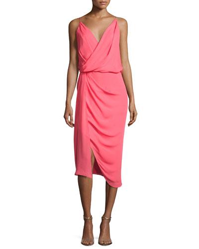 Sage Silk Crepe de Chine Cocktail Dress, Pink