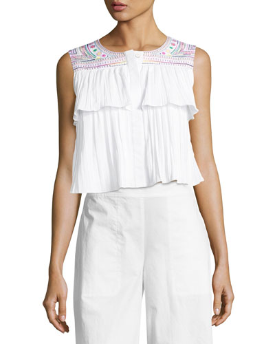 Cleo Embroidered Crop Top, White