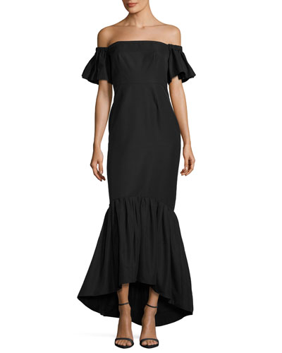 Off-the-Shoulder Faille Mermaid Gown, Black