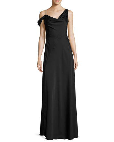 Asymmetric Crepe de Chine Gown, Black