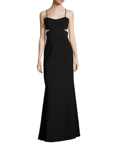 Sleeveless Cutout Crepe Gown, Black