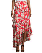 Manhattan Asymmetric Silk Leaf Maxi Skirt, Goji Berry