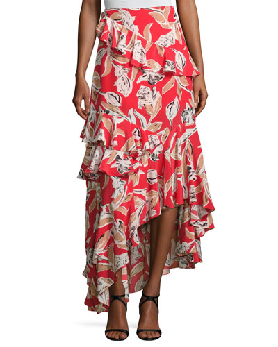 Manhattan Asymmetric Silk Leaf Maxi Skirt, Goji Berry