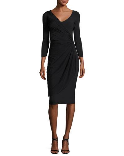 Naomi 3/4-Sleeve Mesh & Jersey Cocktail Dress, Black