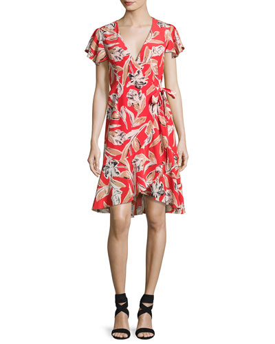 Lincoln Floral Wrap Dress, Red