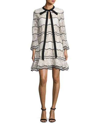 Slipper Long-Sleeve Paneled Lace Cocktail Dress, Ivory