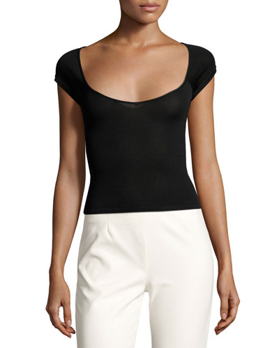Irina Cutout Stretch Top, Jet