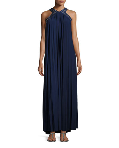 Perma-Pleated Embellished Maxi Dress, Navy