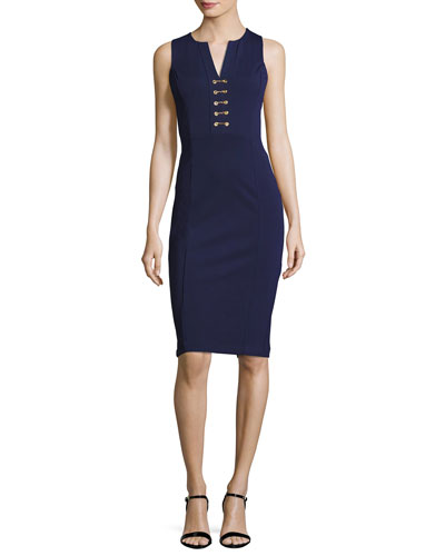 Sleeveless Lace-Up Power Dress, Navy