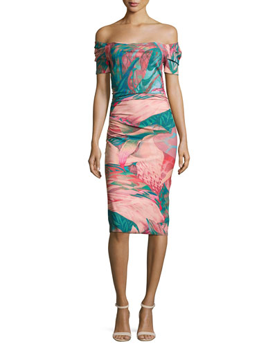 Briseide Off-the-Shoulder Floral Cocktail Dress, Multicolor