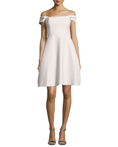 Off-the-Shoulder Faille Cocktail Dress, Primrose