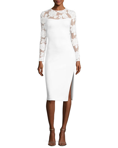 Zuri Long-Sleeve Scuba Cocktail Dress, Whip Cream