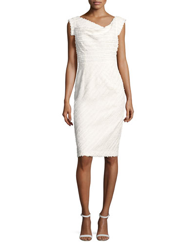Jackie Anniversary Textured Cocktail Dress, Infinite Bias White