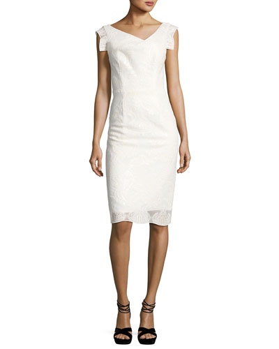 Jackie Anniversary Mesh Paisley Cocktail Dress, Palais Royal (White)