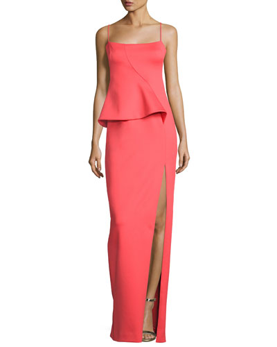 Tia Sleeveless Scuba Column Gown, Canyon Coral