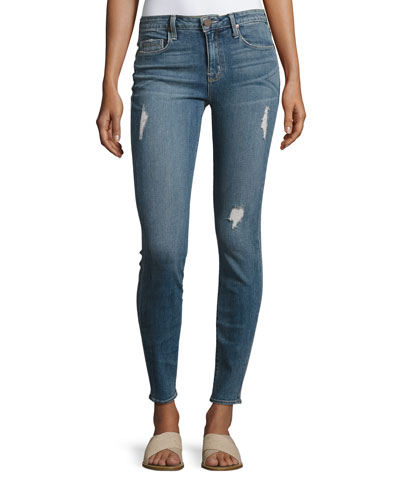 Ava Distressed Skinny Jeans, Medium Blue