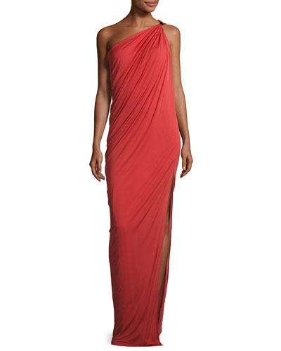 Draped One-Shoulder Gown, Chili