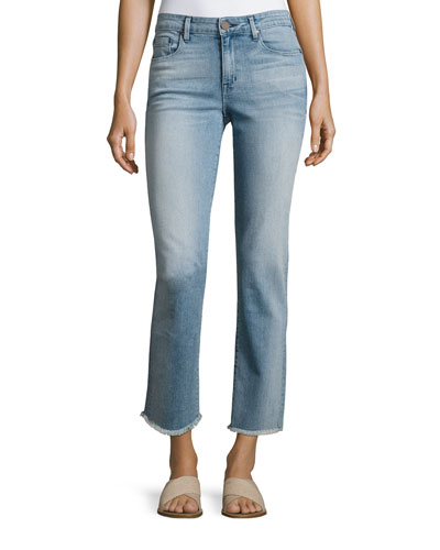 Raw-Edge Straight Ankle Jeans, Light Blue