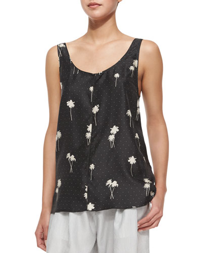 Natalie Palm-Tree Scoop-Neck Silk Twill Top