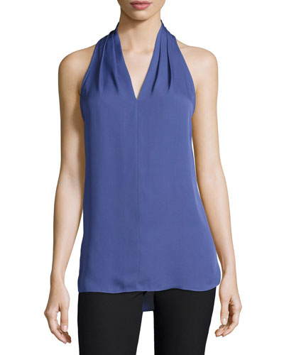 Lucia Sleeveless Pleated V-Neck Silk Blouse, Lavender