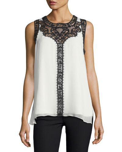 Abagail Sleeveless Lace-Trim Silk Blouse