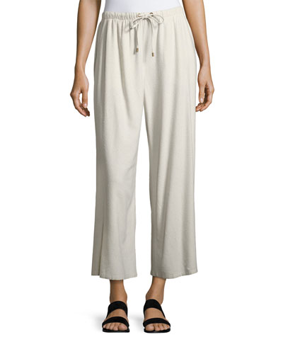 Silk Noil Wide-Leg Cropped Pants, Bone