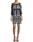 Reanna Cold-Shoulder Lace-Trim Popover Dress, Black/White