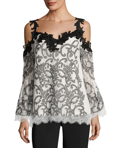 Ren Embroidered Cold-Shoulder Lace Top