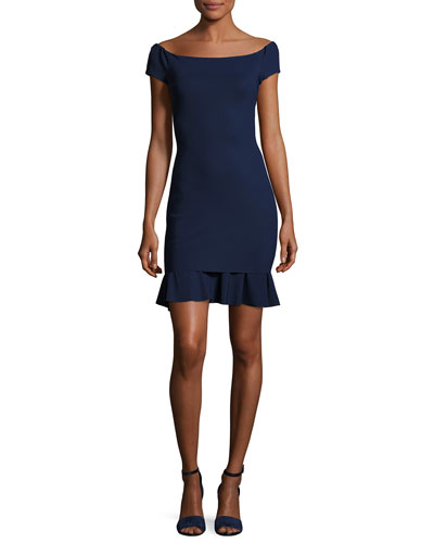 Dalane Cap-Sleeve Flounce Cocktail Dress, Navy