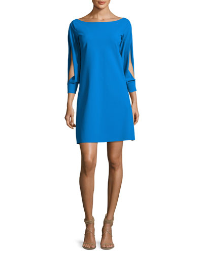 Tony Slit-Sleeve Cocktail Dress, Blue