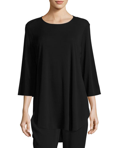 3/4-Sleeve Stretch Silk-Jersey Long Top, Black