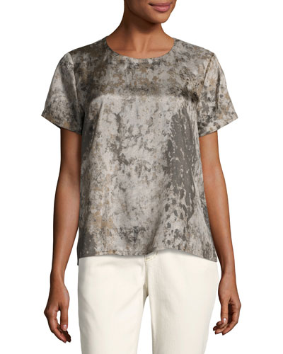 Tidewater Short-Sleeve Printed Silk Top, Mocha
