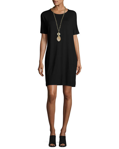 Short-Sleeve Lightweight Jersey Dress, Black