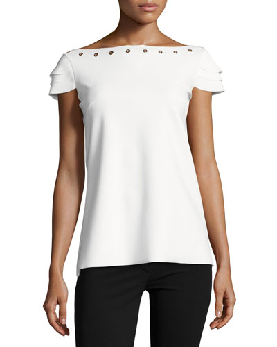 Natuzza Tiered-Sleeve Jersey Grommet Top, White