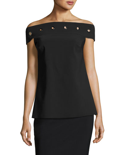 Carey Off-the-Shoulder Grommet Top, Black
