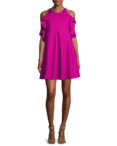 Tiered Ruffle Halter Cocktail Dress, Magenta