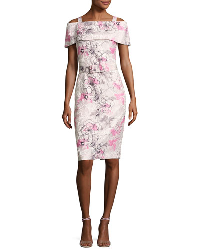 Cold-Shoulder Belted Floral Cocktail Dress, Pink/Multicolor