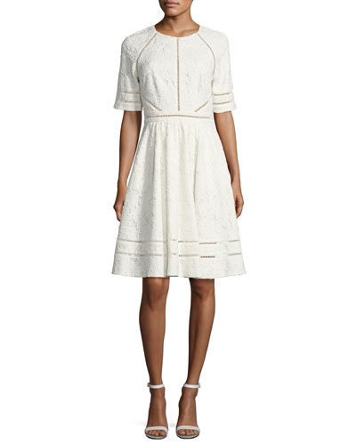Short-Sleeve Floral Lace Novelty Dress, Light Ivory